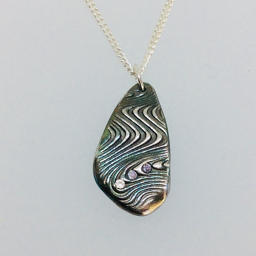 Silver Ripple Textured Necklace