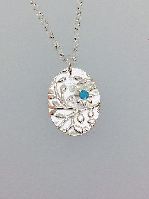 Silver Floral Textured Necklace