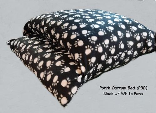 Porch Burrow Bed - Black w/ White Paws