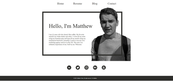 Old Personal Website Design