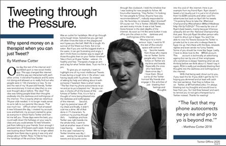 Magazine Spread: Tweeting through the Pressure