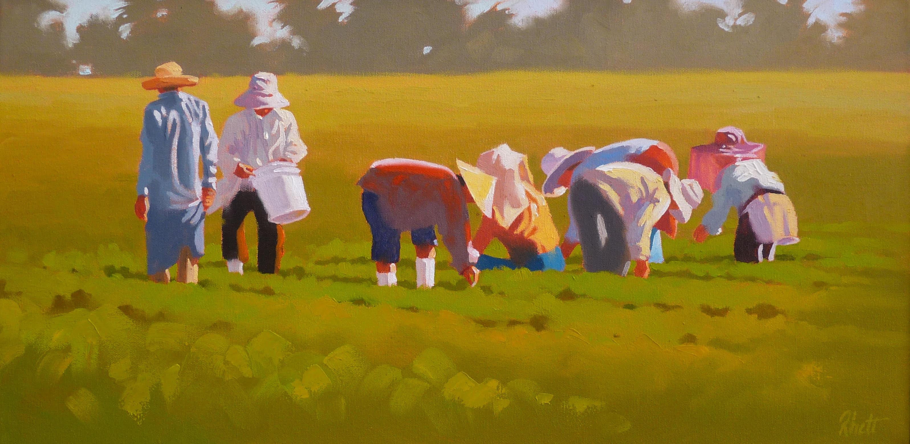Strawberry Pickers,  12 x 24
