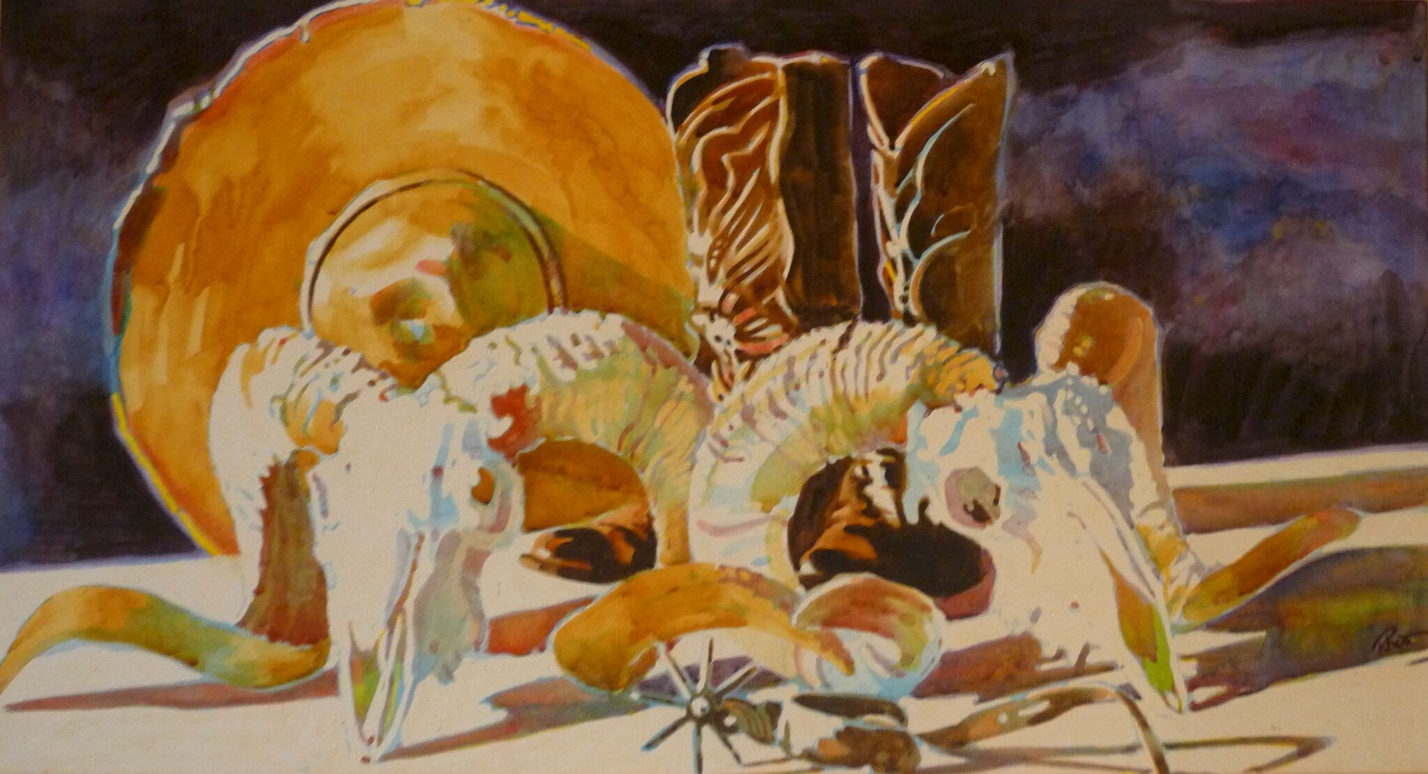 Santa Fe Flea Market, 19 x 36   (Water Color  32 x 48 Matted)