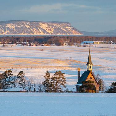 Blomidon and Grand Pre Church in Winter