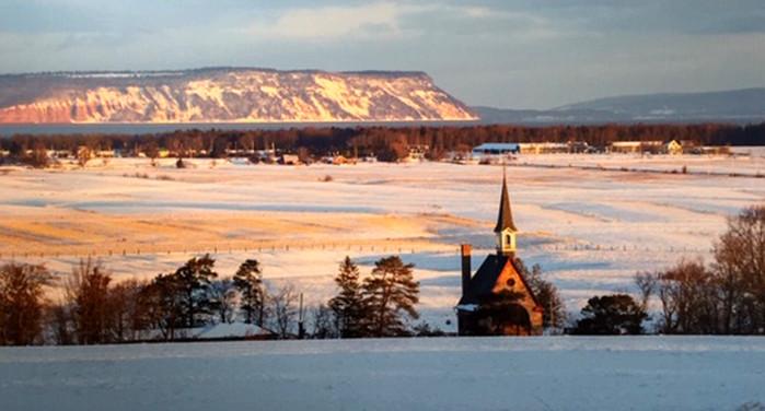 Blomidon and Grand-Pre Church in Winter