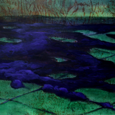 Quilted Landscapes -- Valley Night #1