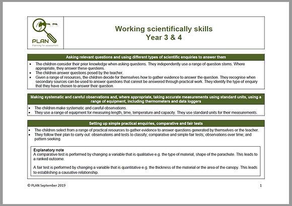 Working scientifically matrix - Y3 & Y4