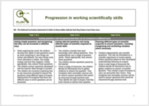 Progression in working scientifically sk