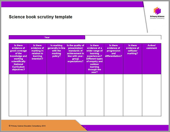 Primary Science Book Scrutiny Template