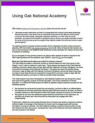 Using Oak National Academy