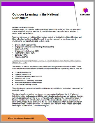 Outdoor Learning in the National Curriculum