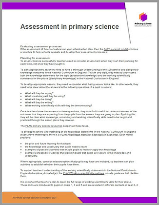 Assessment in Primary Science
