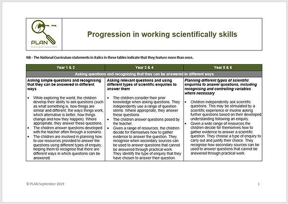 Progression in working scientifically skills