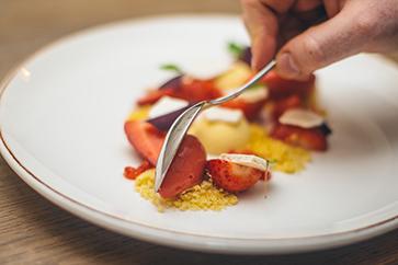 Strawberry dish at The Packhorse Inn