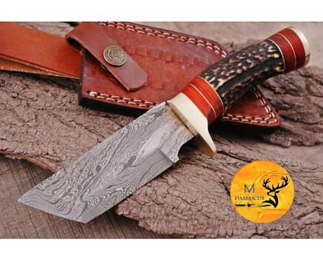 DAMASCUS STEEL SKINNER HUNTING KNIFE - AJ 1109