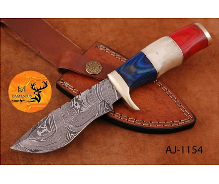 DAMASCUS STEEL SKINNER HUNTING KNIFE - AJ 1154