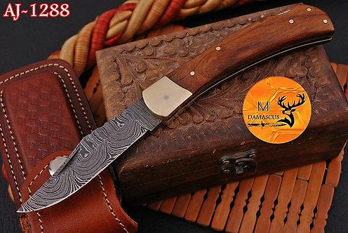 DAMASCUS STEEL FOLDING POCKET KNIFE- AJ 1288