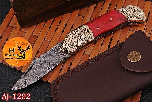 DAMASCUS STEEL FOLDING POCKET KNIFE- AJ 1292