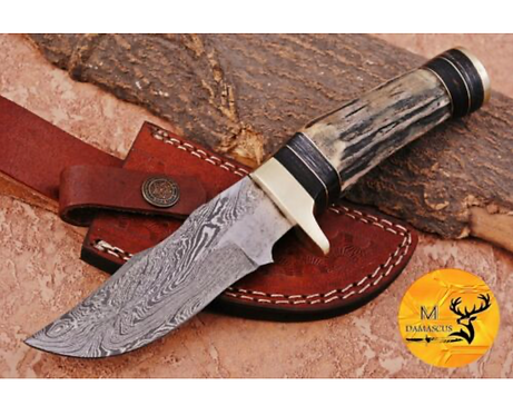 DAMASCUS STEEL SKINNER HUNTING KNIFE - AJ 1117