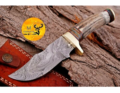 DAMASCUS STEEL SKINNER HUNTING KNIFE - AJ 1110