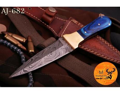 DAMASCUS STEEL THROWING BOOT DAGGER KNIFE - AJ 682