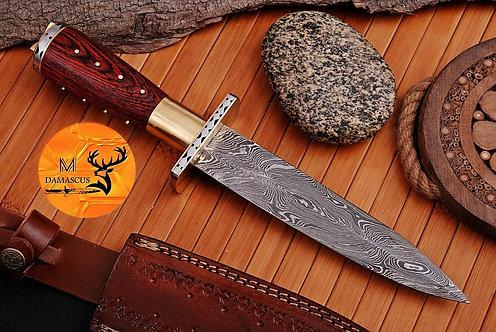 DAMASCUS STEEL BOOT DAGGER KNIFE  AJ 982