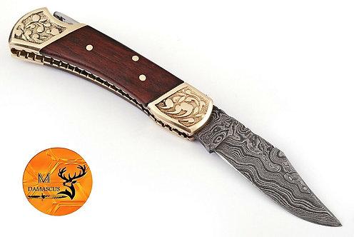 DAMASCUS STEEL FOLDING POCKET KNIFE- AJ 1252