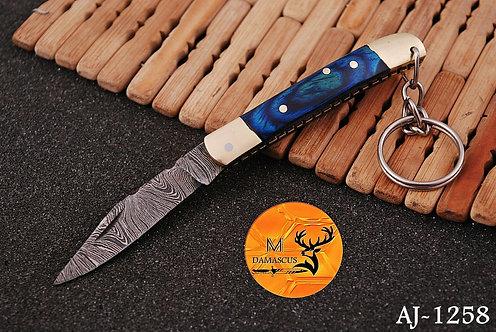 DAMASCUS KEY CHAIN FOLDING KNIFE- AJ 1258
