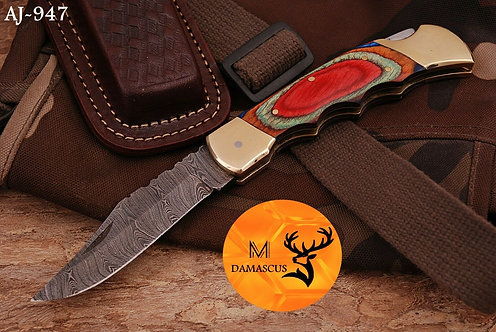 DAMASCUS STEEL FOLDING POCKET KNIFE- AJ 947