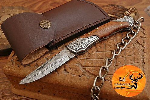 DAMASCUS STEEL FOLDING POCKET KNIFE- AJ 670