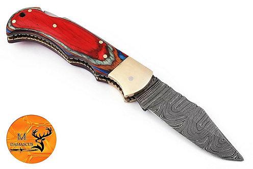 DAMASCUS STEEL FOLDING POCKET KNIFE- AJ 1324