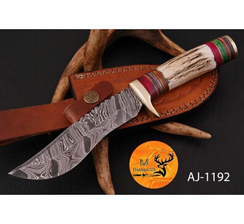 DAMASCUS STEEL SKINNER HUNTING KNIFE- AJ 1192