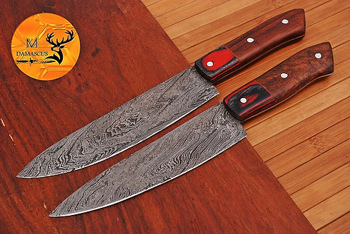 DAMASCUS STEEL CHEF KITCHEN KNIVES SET- AJ 1597