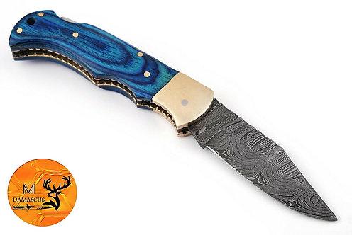 DAMASCUS STEEL FOLDING POCKET KNIFE- AJ 1332
