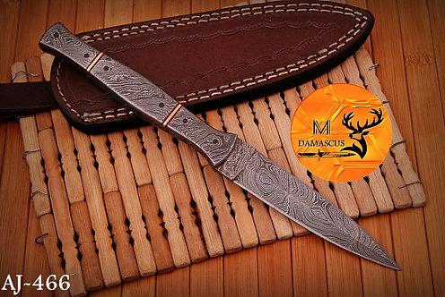 DAMASCUS STEEL THROWING BOOT DAGGER KNIFE AJ 466