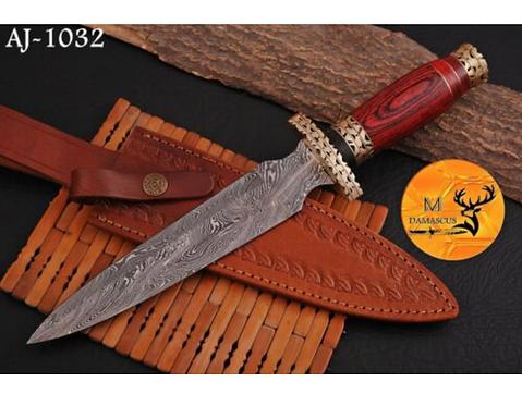 DAMASCUS STEEL DAGGER KNIFE - AJ 1032