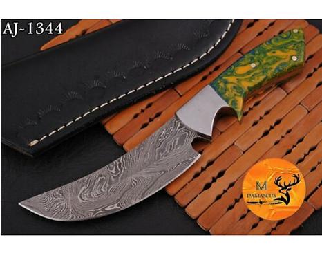 DAMASCUS STEEL SKINNER HUNTING KNIFE - AJ 1344