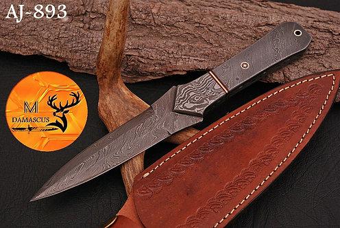 DAMASCUS STEEL THROWING BOOT DAGGER KNIFE AJ 893