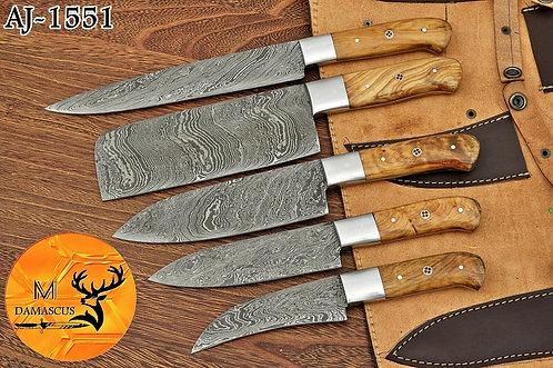 DAMASCUS STEEL CHEF KITCHEN KNIFE SET- AJ 1551