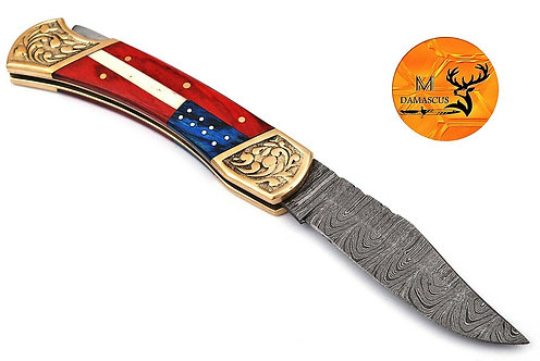 DAMASCUS STEEL FOLDING POCKET KNIFE- AJ 1505