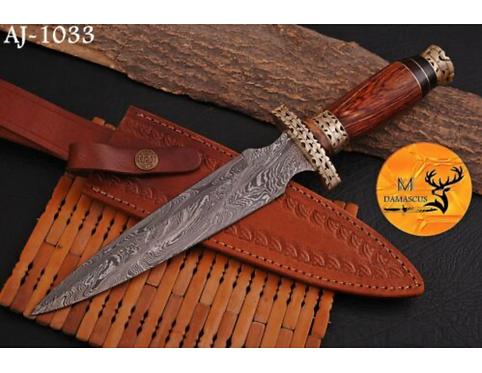 DAMASCUS STEEL DAGGER KNIFE - AJ 1033