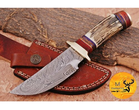 DAMASCUS STEEL SKINNER HUNTING KNIFE - AJ 1121