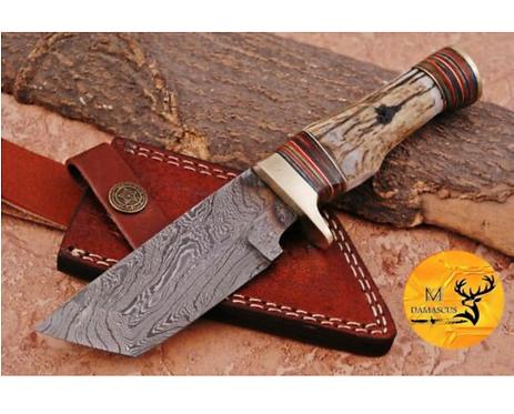 DAMASCUS STEEL SKINNER HUNTING KNIFE - AJ 1118