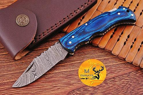DAMASCUS STEEL FOLDING POCKET KNIFE- AJ 1105