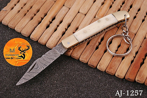 DAMASCUS KEY CHAIN FOLDING KNIFE- AJ 1257