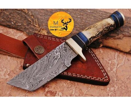 DAMASCUS STEEL SKINNER HUNTING KNIFE - AJ 1123