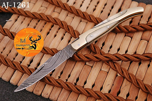 DAMASCUS STEEL FOLDING POCKET KNIFE- AJ 1261