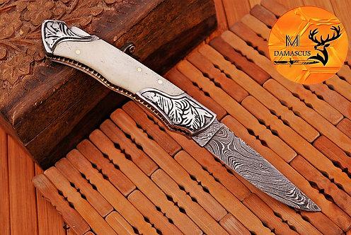 DAMASCUS STEEL FOLDING POCKET KNIFE- AJ 848