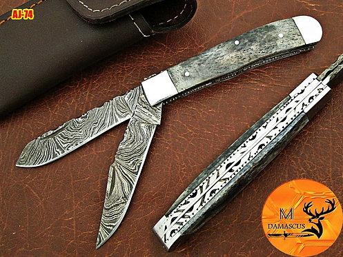 DAMASCUS STEEL TRAPPER FOLDING KNIFE- AJ 74