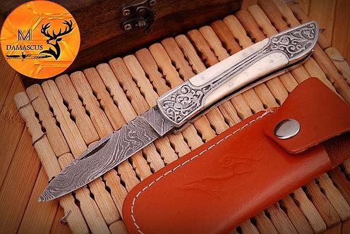 DAMASCUS STEEL FOLDING POCKET KNIFE- AJ 370